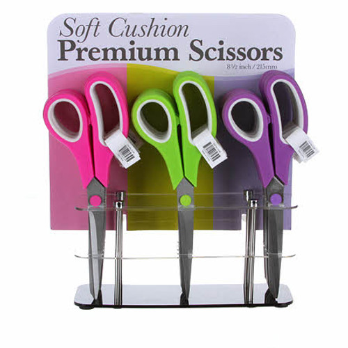 "Soft Cushion Premium 8.5"" Scissors - 1 pair random colour"