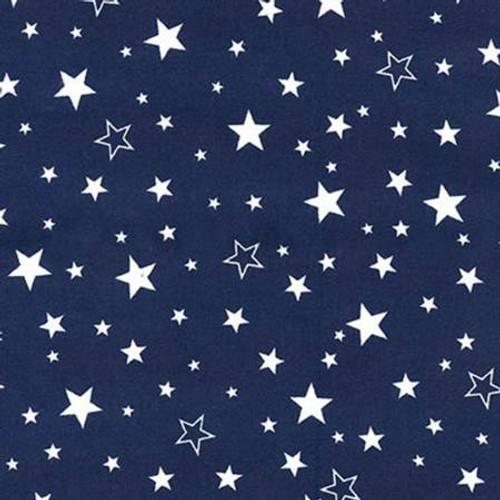 White Stars on Navy - Robert Kaufman Flannel - 1/2 yard