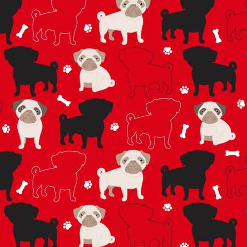 Red Oh My Pug-ness Anti-Pill Fleece - 1/2 yard