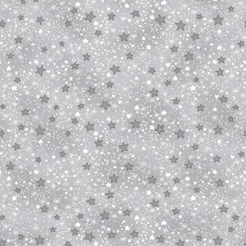 Grey & White Mini Sparkle Stars - AE Nathan Flannel - 1/2 yard