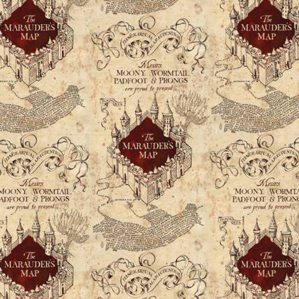 Cream Marauders Map - Harry Potter Cotton - 1/2 yard - Funky Monkey ...