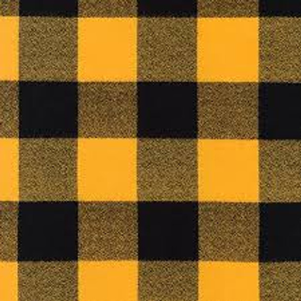 Mammoth Black/Mustard Plaid  - Robert Kaufman Flannel - 1/2 yard