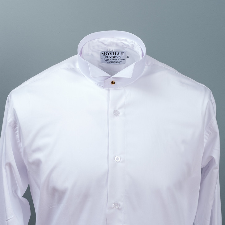 Men's White Court Shirt in Easycare PolyCotton