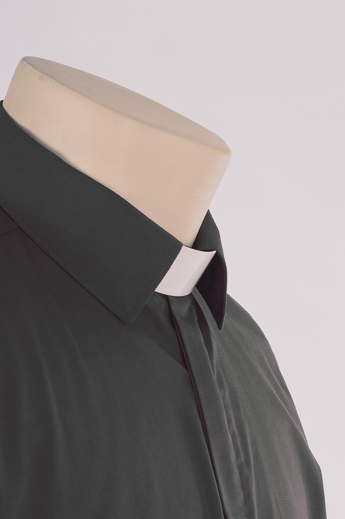 Dark Grey Standard Collar Clergy Shirt - Carrowmenagh