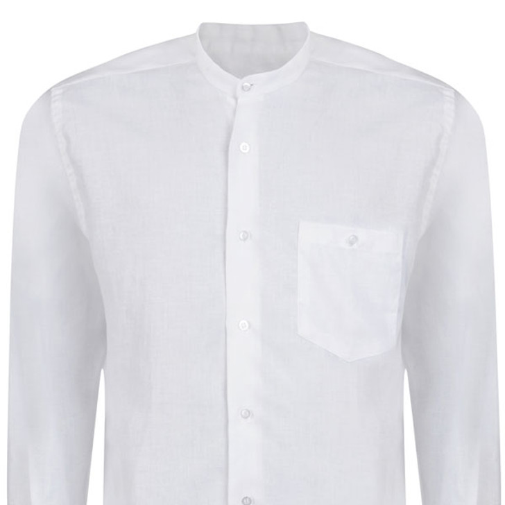 Men's White Linen Irish Grandad Collar Shirt in lightweight 100% Irish linen
