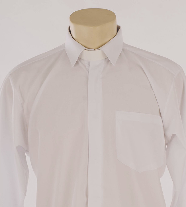 White 100% Egyptian Cotton Standard Collar Clergy Shirt