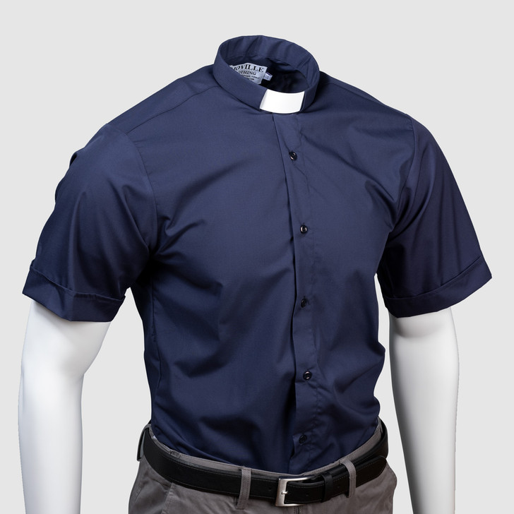 Men's SLIM-FIT Short-Sleeved Clergy Shirt - Tunnel or Standard Collar in Superior Polycotton