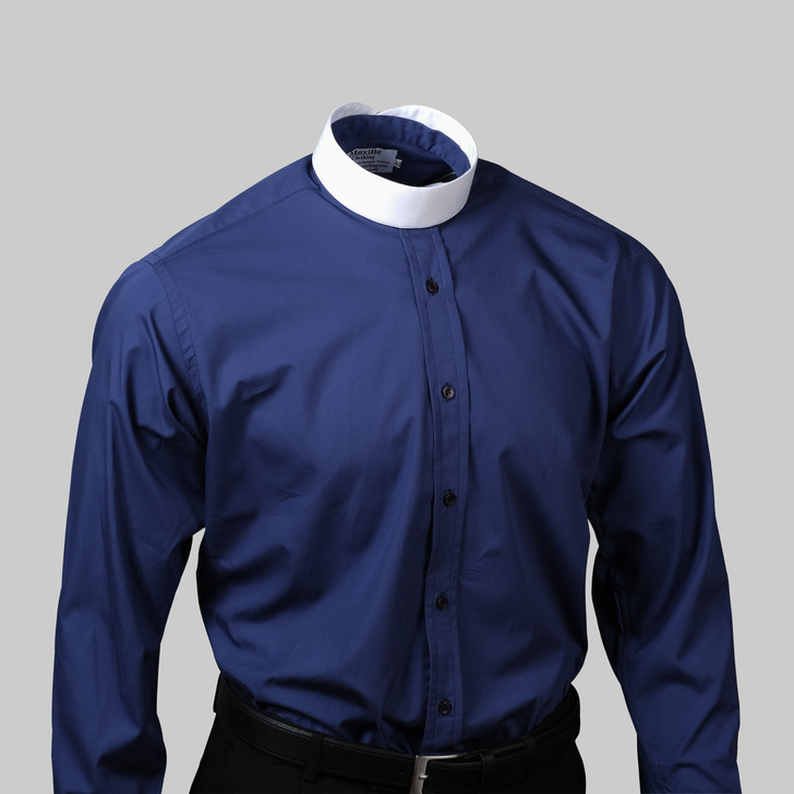 Men's Navy Blue Tunic Collar Shirt - 100% Egyptian Cotton
