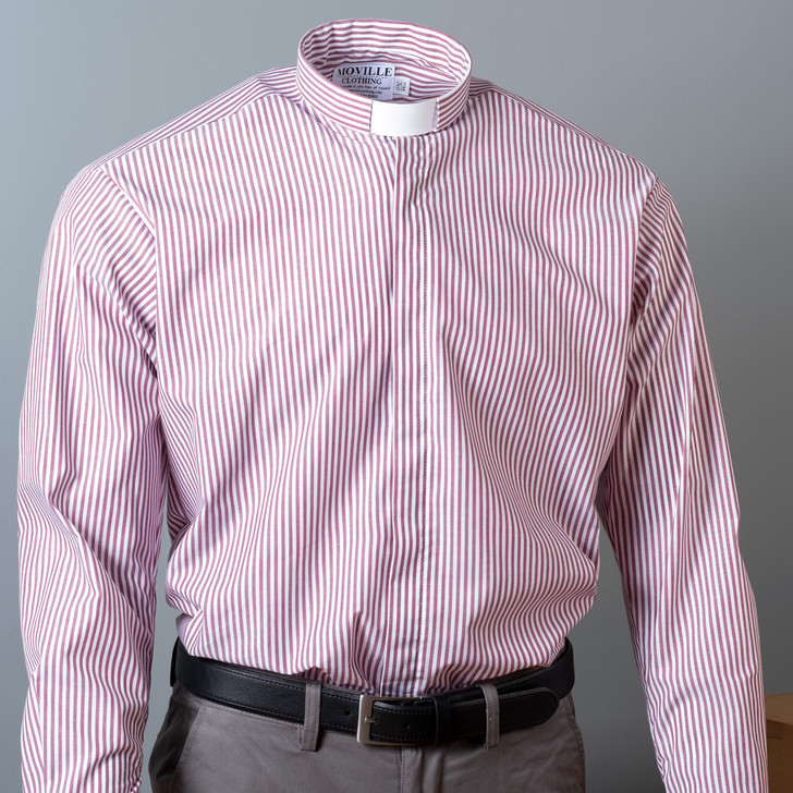 Wine stripe classic fit Tunnel Collar Clergy Shirt