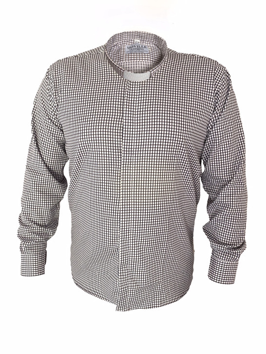 Men's Classic Fit Tunnel Collar Clergy Shirt in 100% Cotton - New & Exclusive - Checks & Stripes