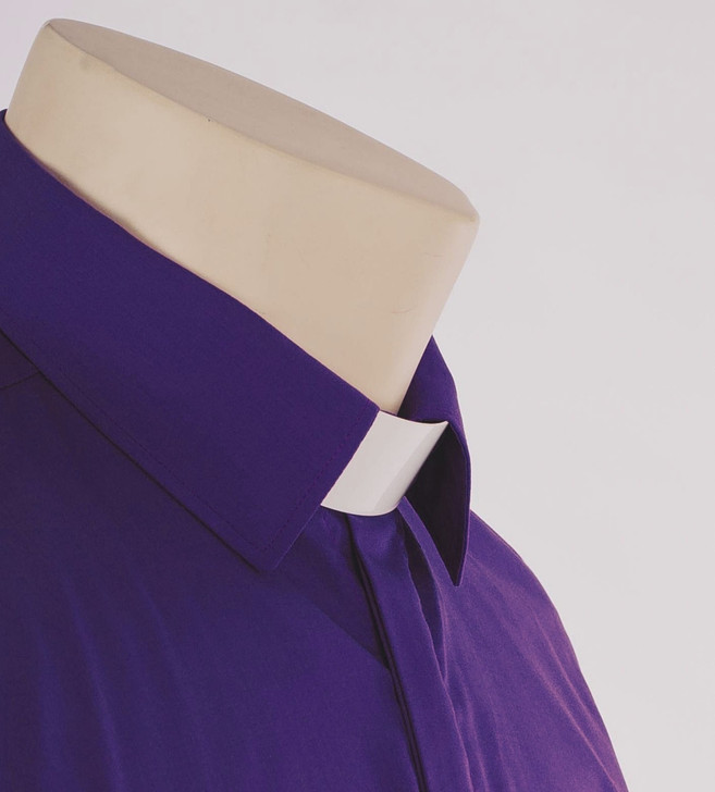 Purple Standard Collar Women's Clergy Shirt in Superior Polycotton