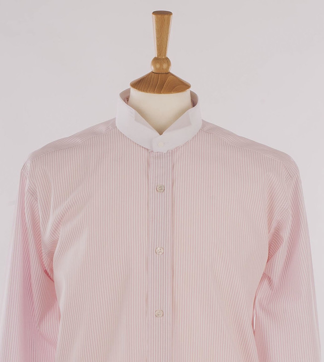 Men's Pink & White Stripe Court Shirt in 100% Egyptian Cotton