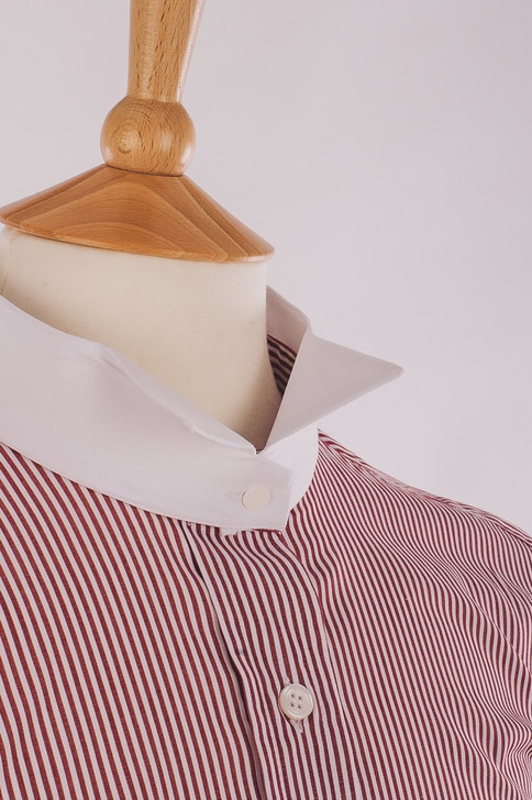 Men's Wine Stripe Court Shirt - Inishowen
