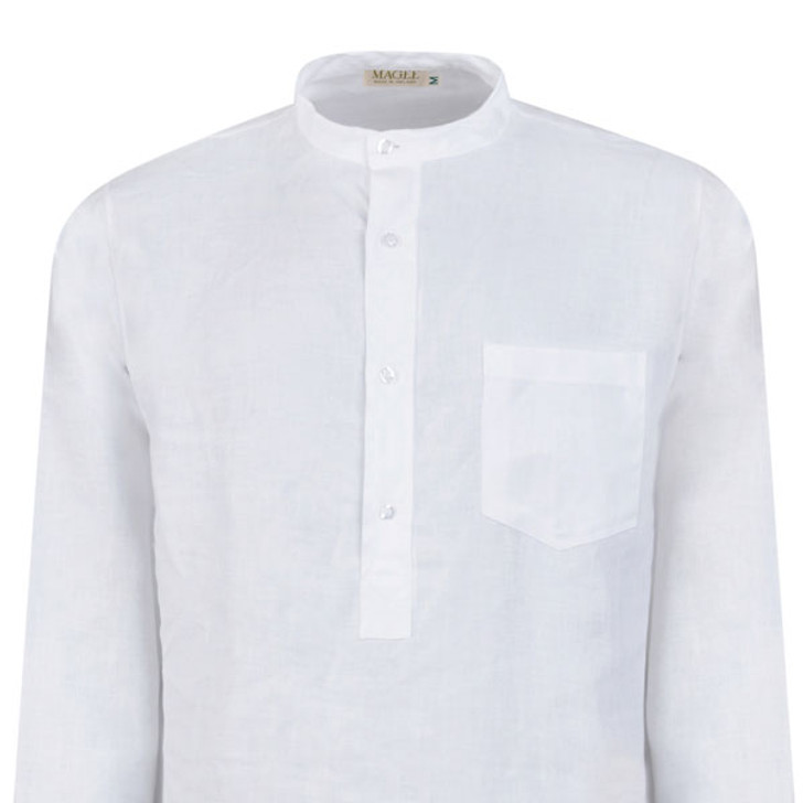 White Linen Grandfather Night Shirt by Magee 1866