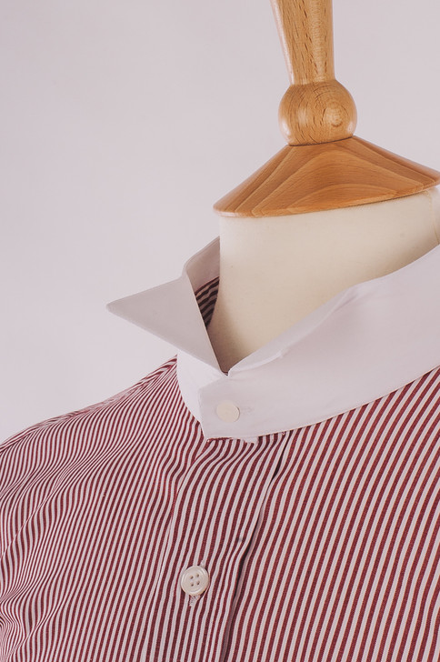Men's Wine & White Stripe 100% Egyptian Cotton Court Shirt