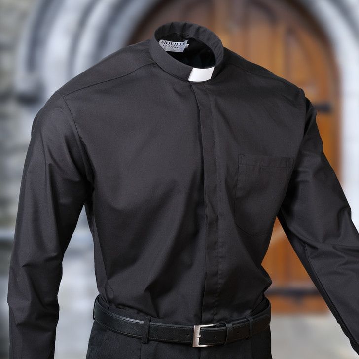Men's 'Classic-fit' Black Tunnel Collar Clergy Shirt in 100% Egyptian Cotton
