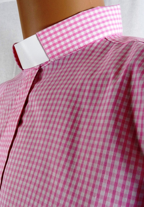 Men's Gingham Check Tunnel Collar Clergy Shirt