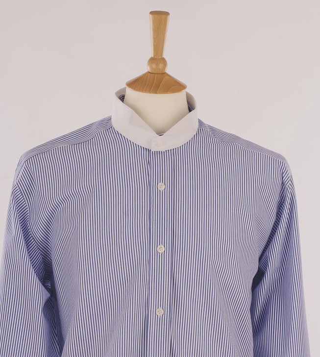 Men's Dark Blue & White Stripe Court Shirt in 100% Egyptian Cotton