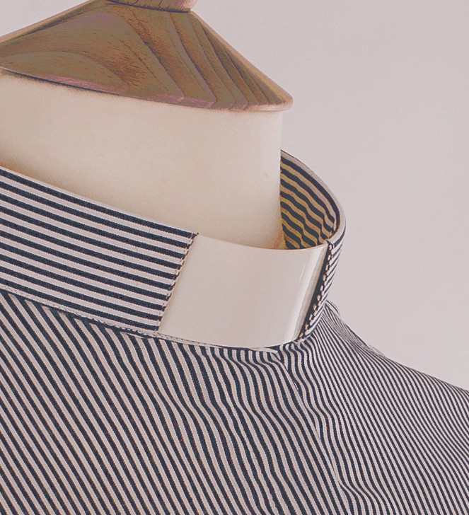 Grey Stripe Tunnel Collar Clergy Shirt - Carrowmenagh