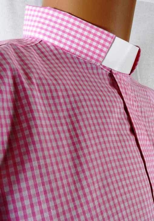 Women's Gingham Check Clergy Shirt - 2 collar choices