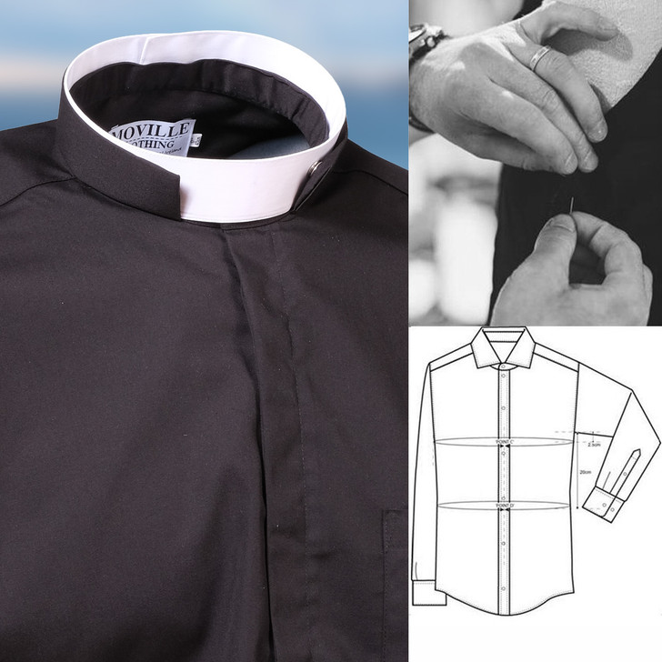 Men's Made to Measure ROMAN Collar Clergy Shirt in 100% Egyptian Cotton