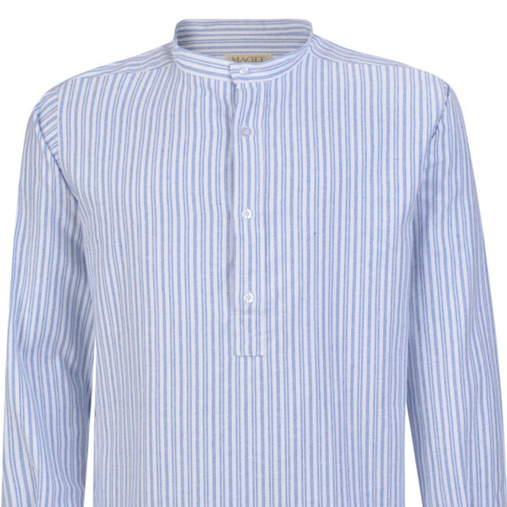 Men's Double-Blue Stripe Irish Grandad Collar Shirt in Flannel Brushed Cotton