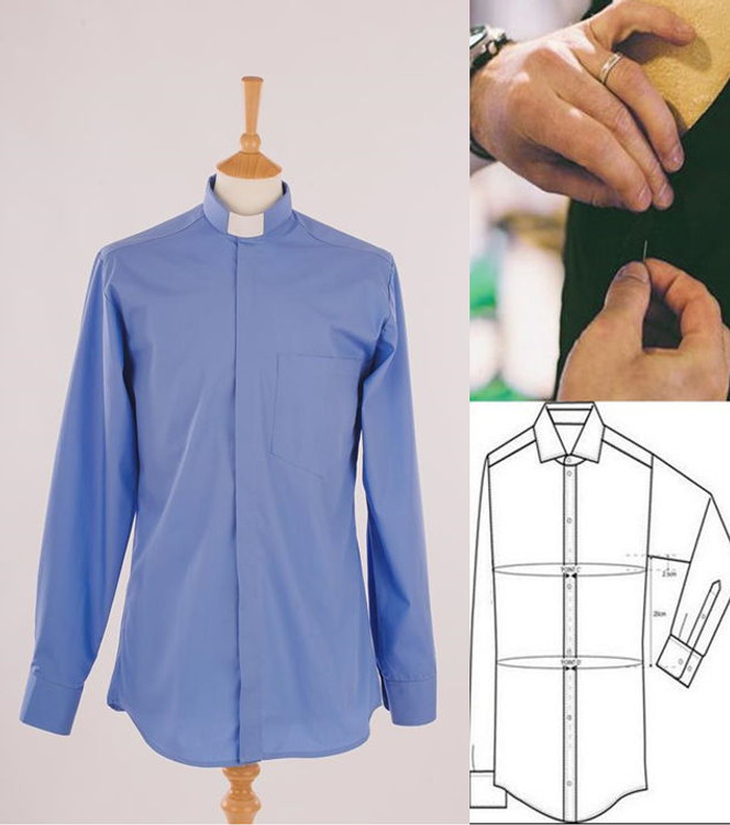 Men's SLIM-FIT Clergy Shirt - Tunnel or Standard Collar in Easycare PolyCotton