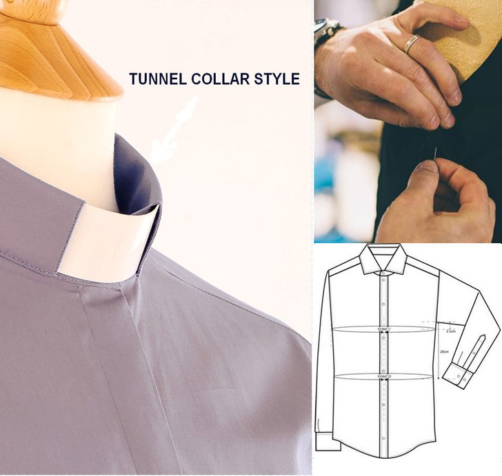 Men's Made to Measure TUNNEL Collar Clergy Shirt in 100% Egyptian Cotton