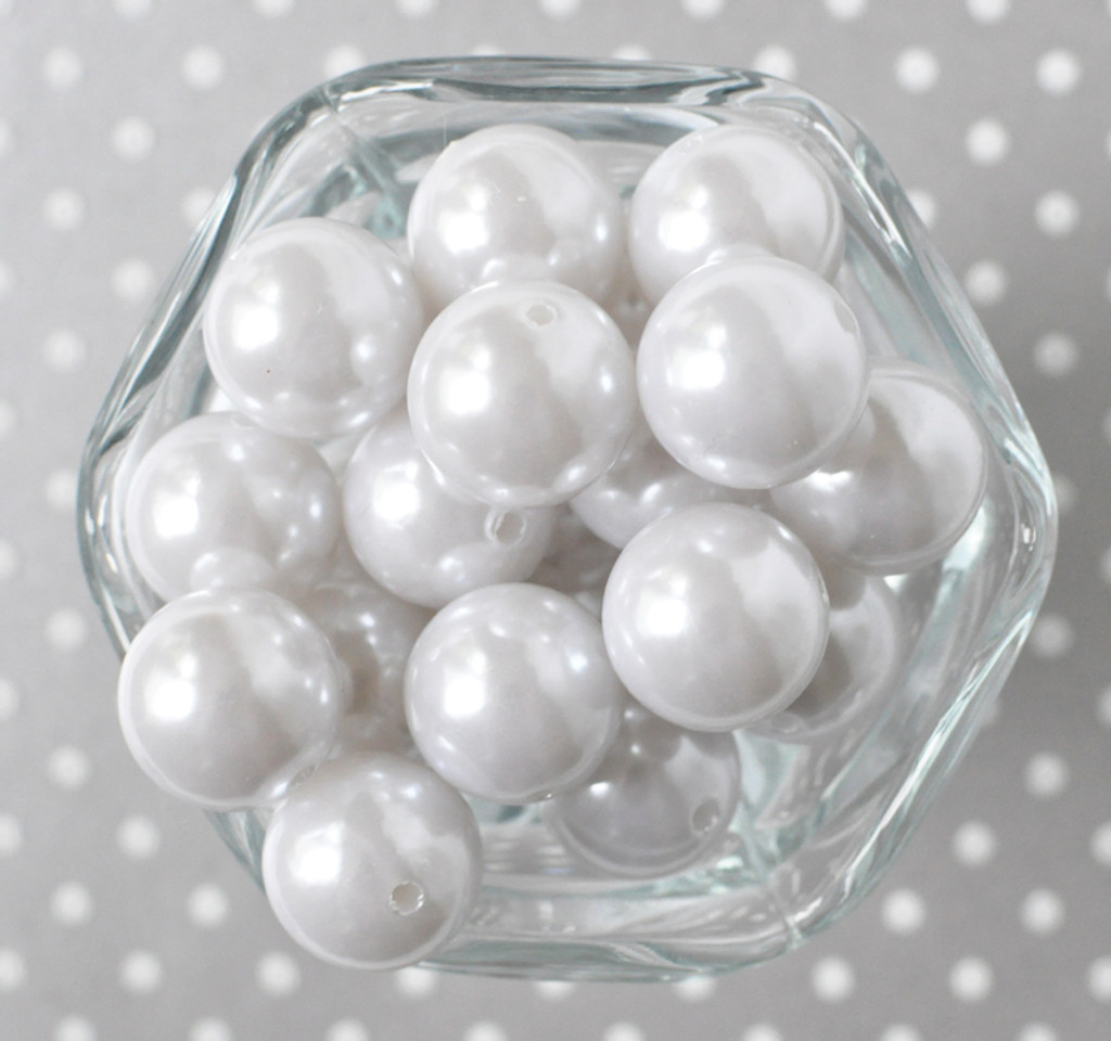 20mm White pearl bubblegum beads for DIY Children's jewelry supplies