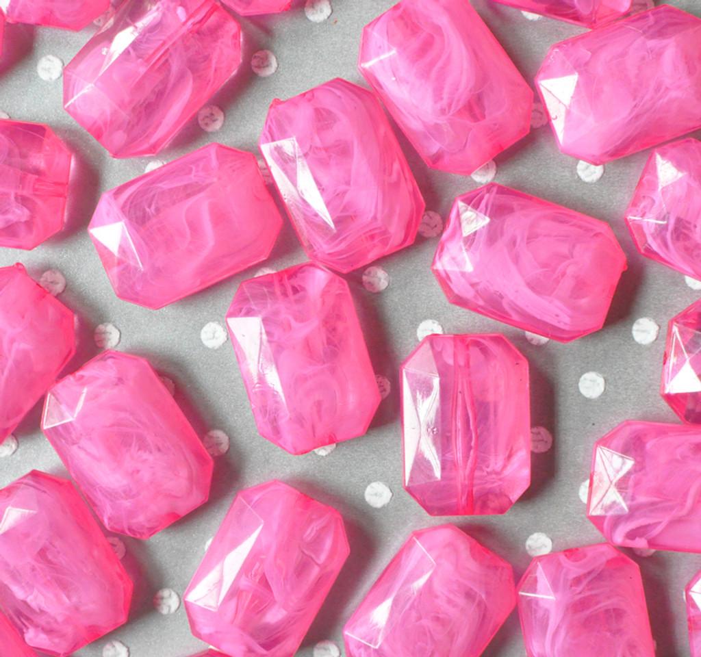 30mm Shocking pink marble swirl emerald cut rectangle acrylic beads