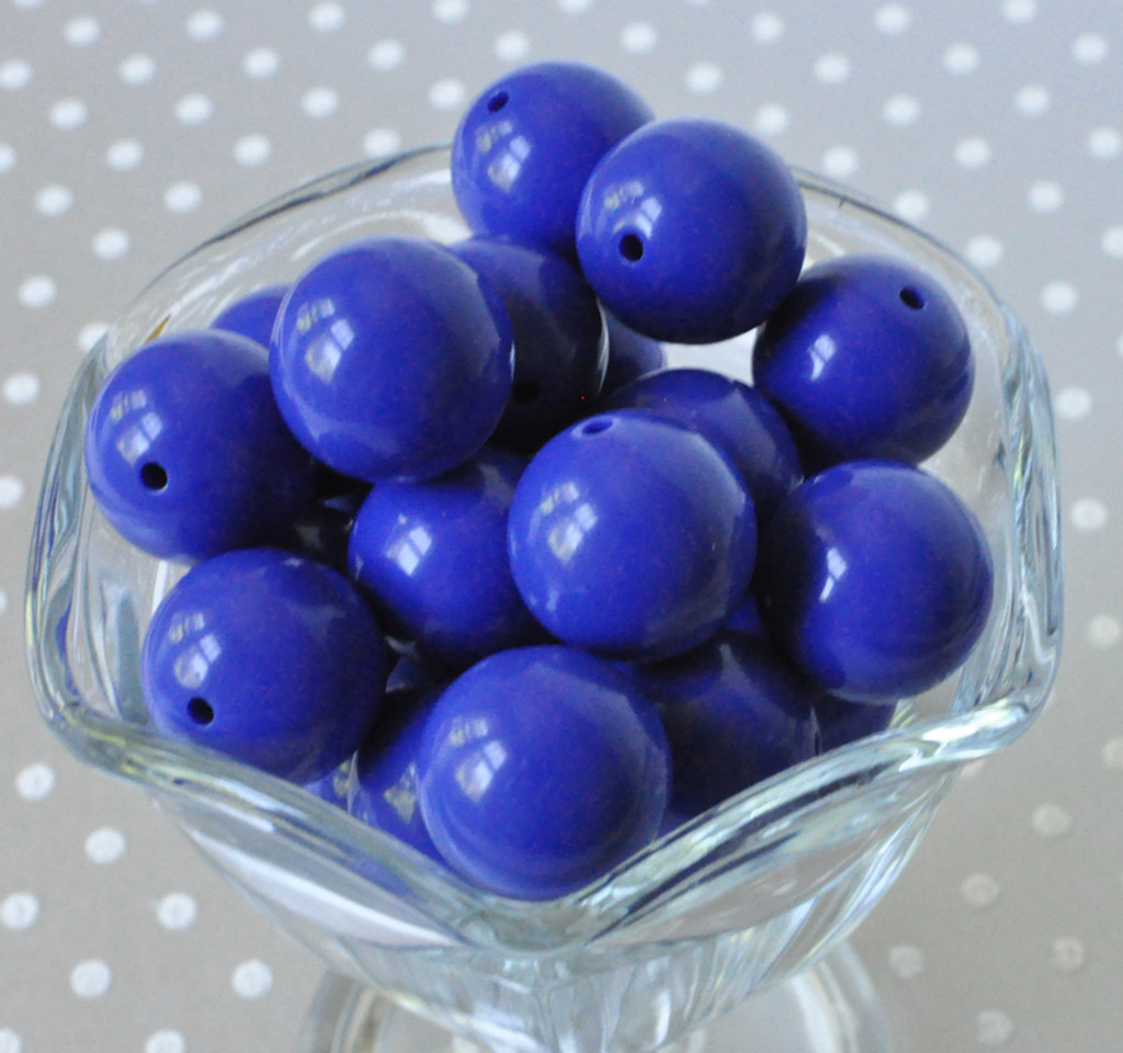 20mm Royal blue solid bubblegum beads