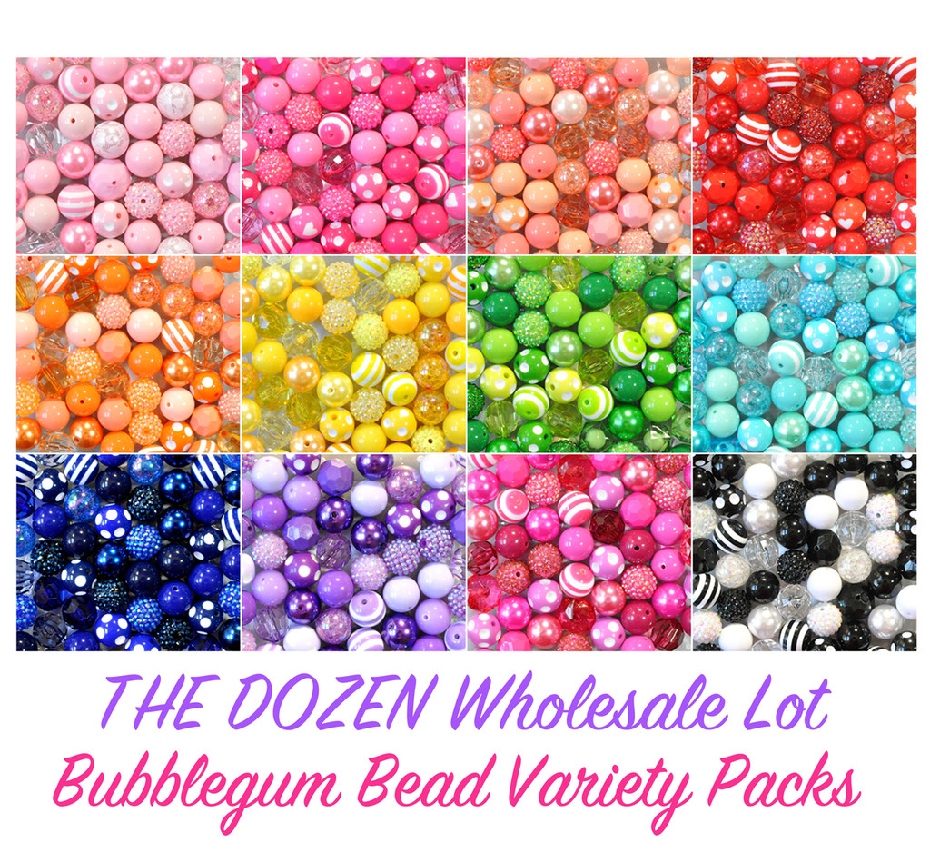 12 color packs chunky bubblegum bead variety mixes