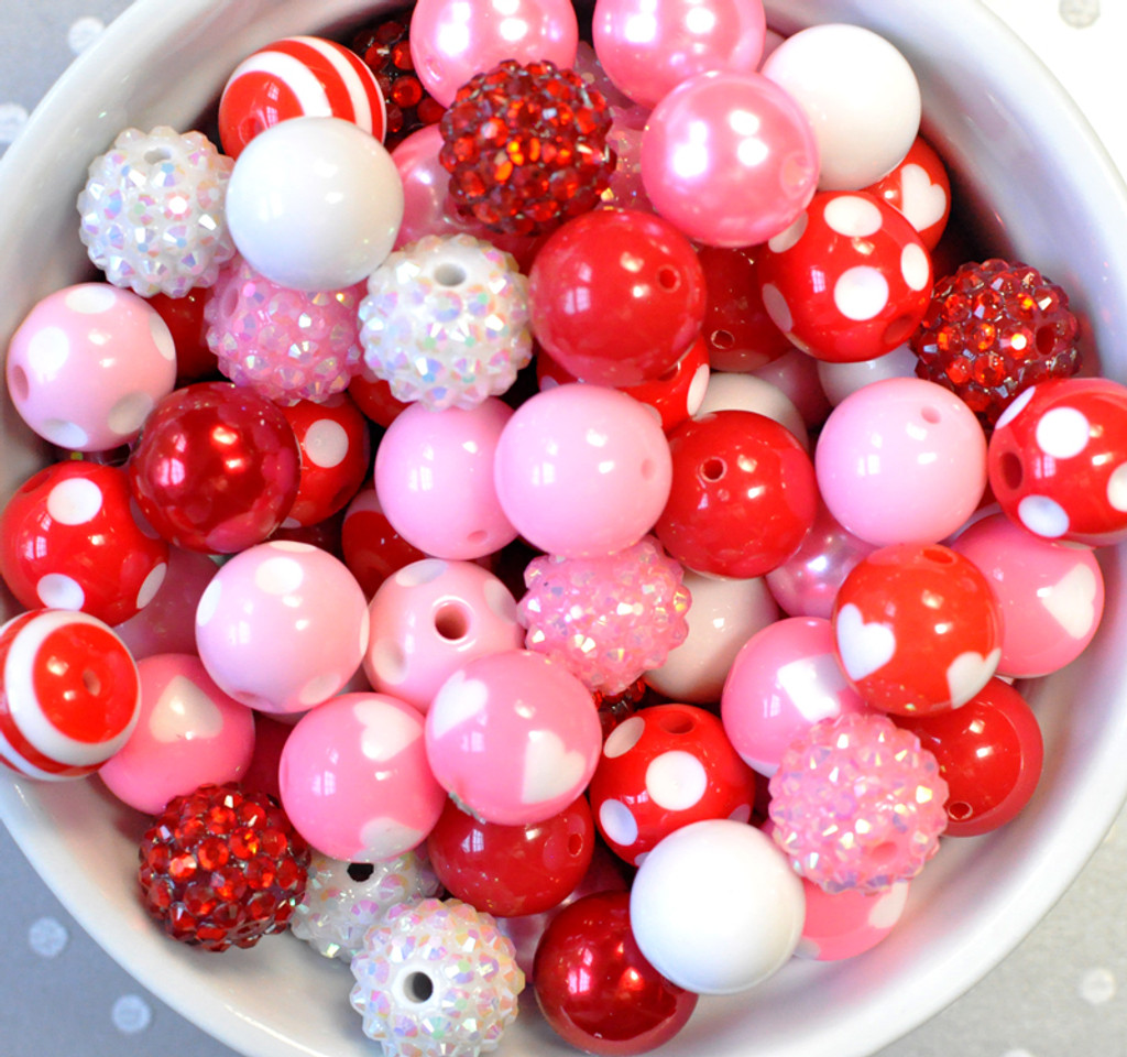 16mm Valentine's Day Red and Pink acrylic plastic bubble gum bead mix for kids