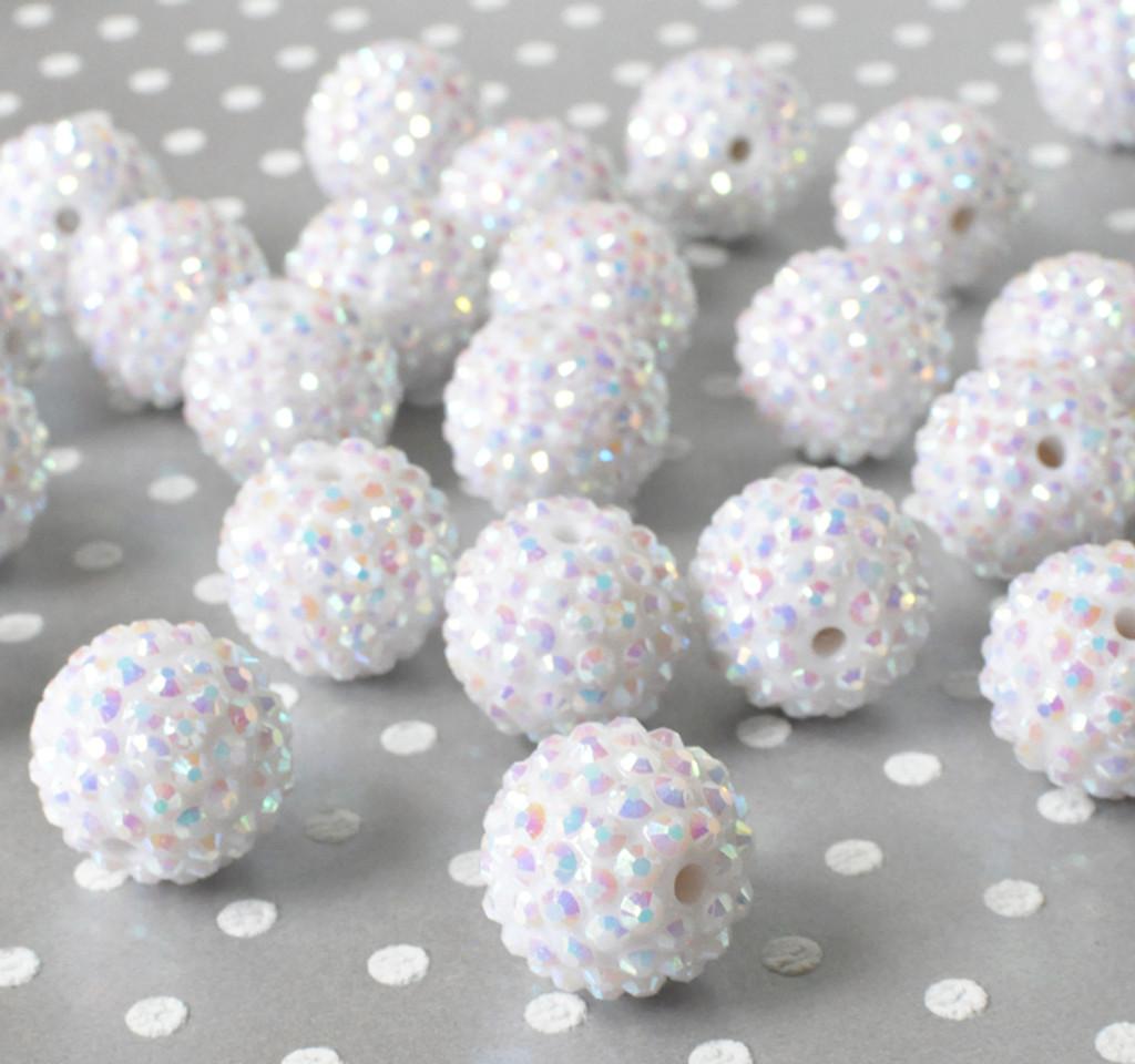 20mm White AB rhinestone bubblegum beads for chunky necklaces