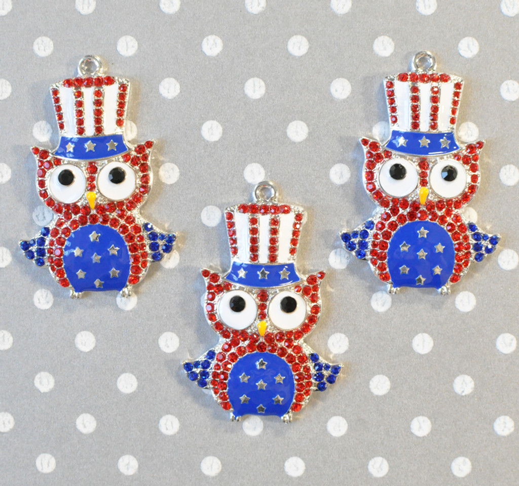 Independence Owl chunky rhinestone pendant