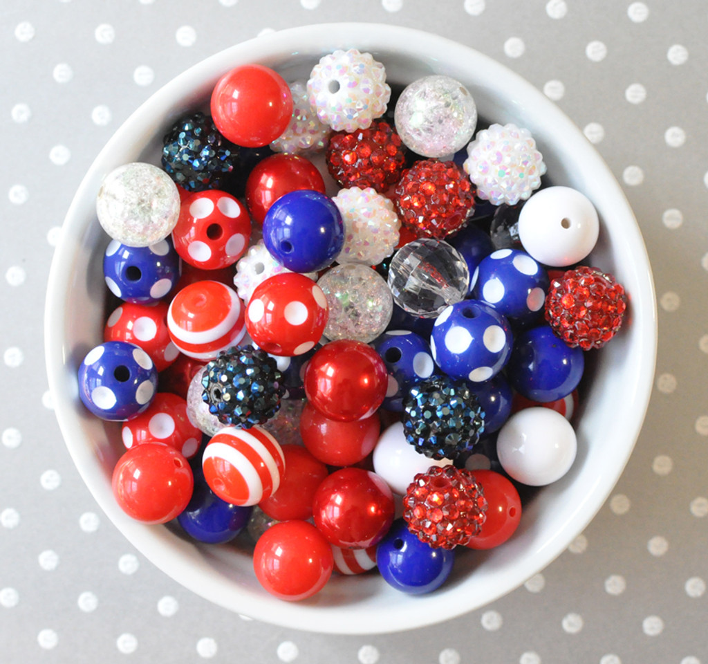 16mm Red, white, and blue bubblegum bead mix