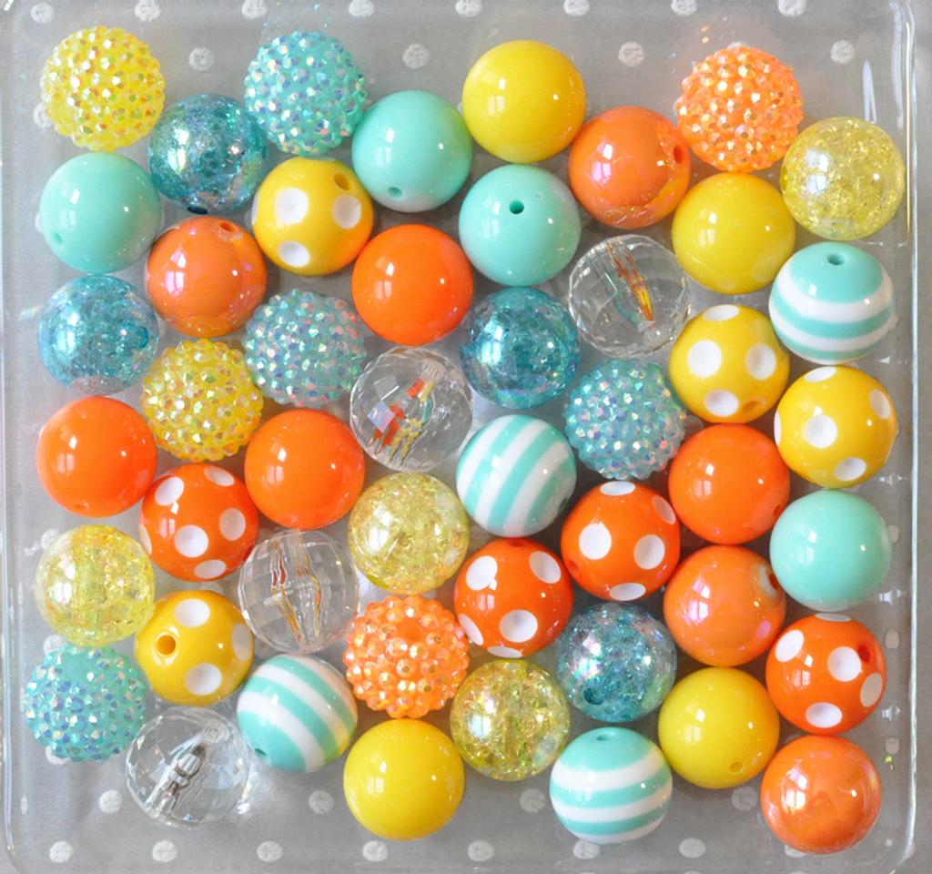 Orange yellow aqua bubblegum bead wholesale kit