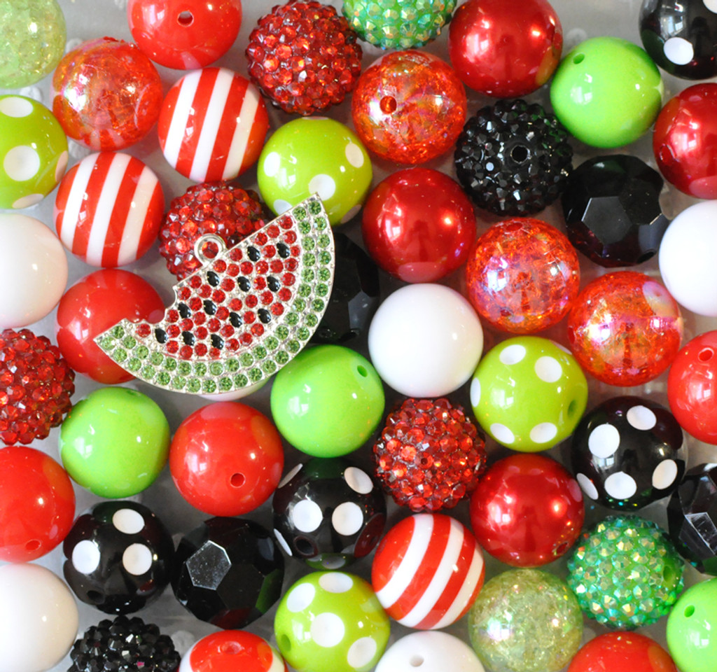 Sweet Watermelon bubblegum bead pendant kit