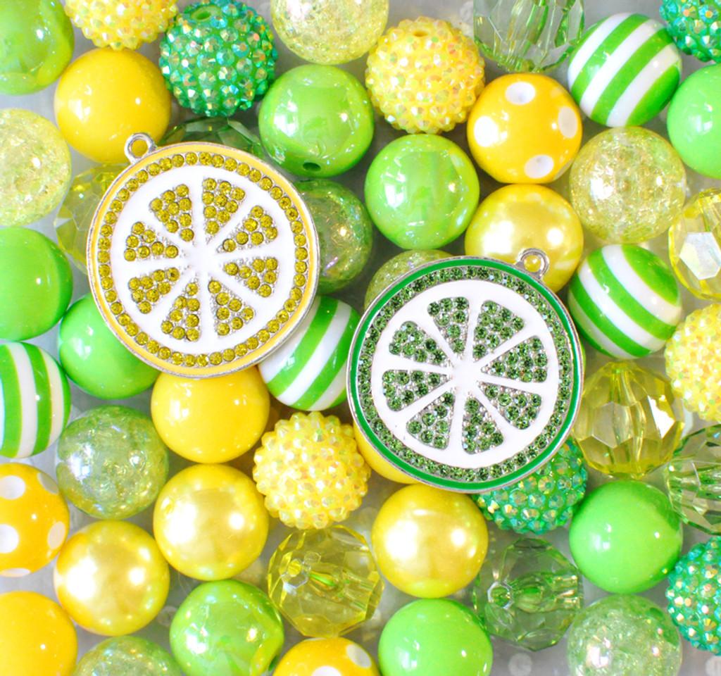 Lemon Lime bubblegum bead pendant kit