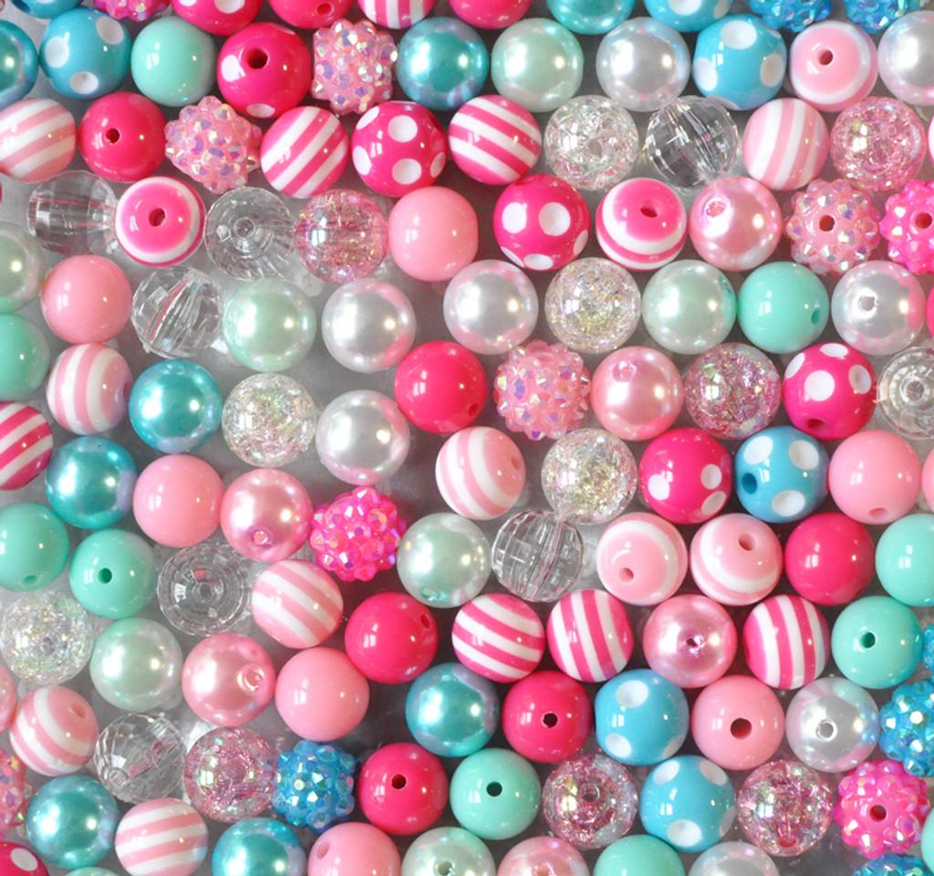 12mm Pink, aqua, turquoise bubblegum bead mix