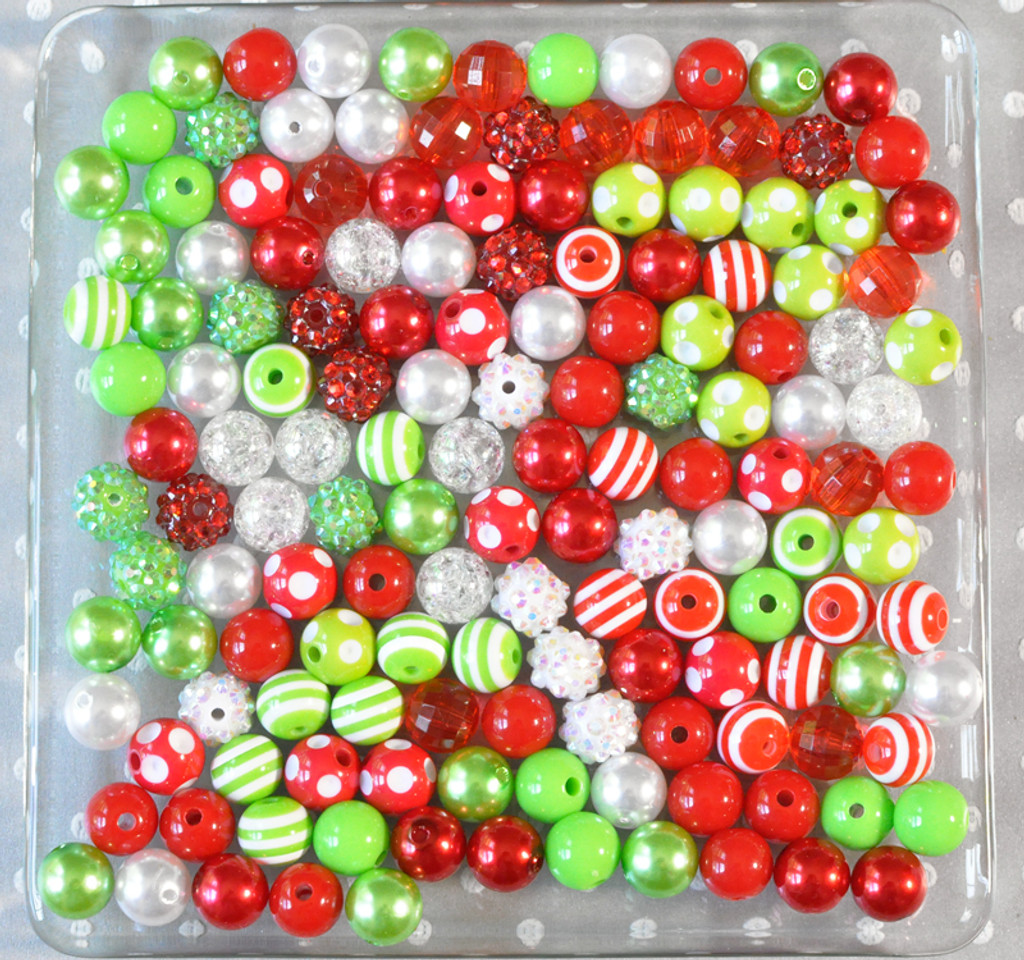 12mm Red and Lime Christmas bubblegum bead mix
