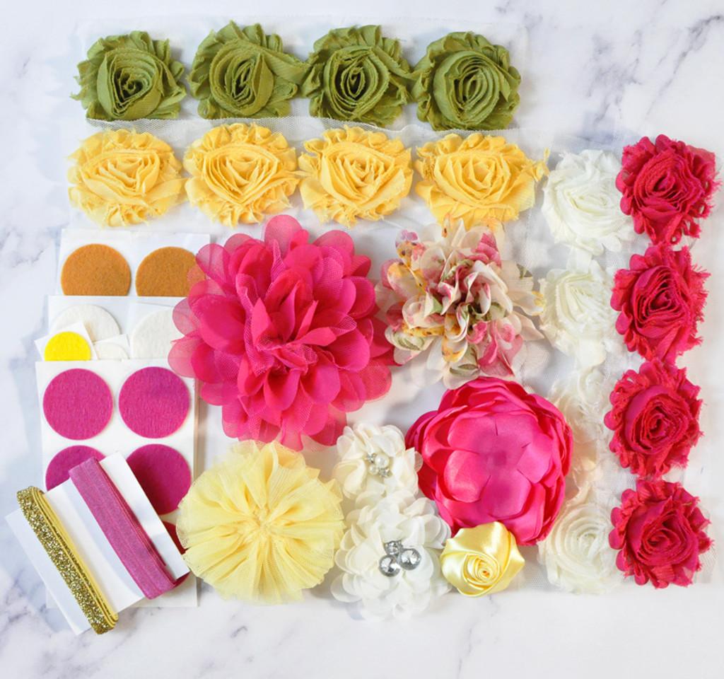 Fuchsia and Yellow Garden Party headband kit