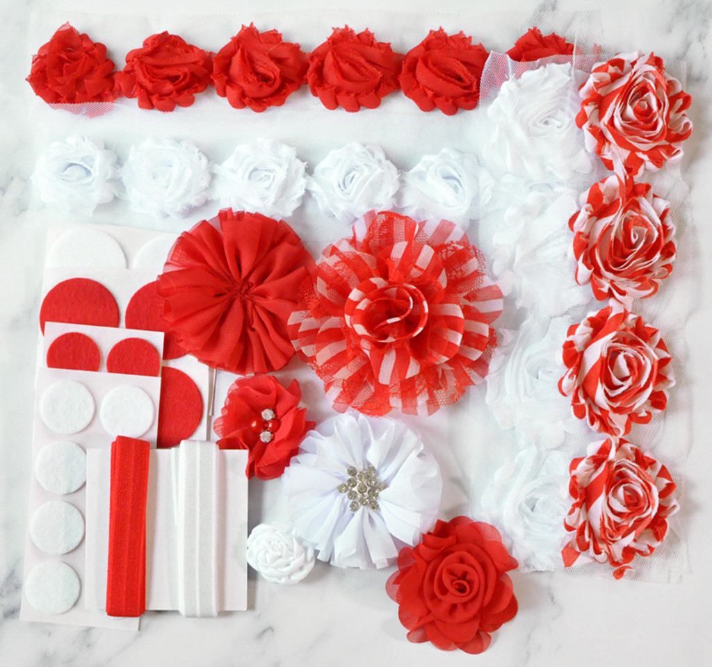 Red and White Christmas stripe headband kit