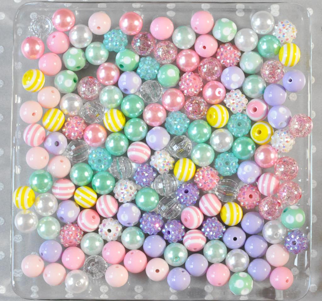 12mm Pastel easter bubblegum bead mix