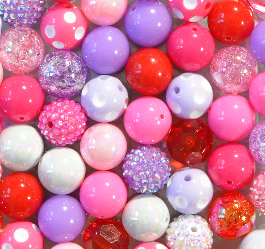 Red, pink, and purple bubblegum bead wholesale kit