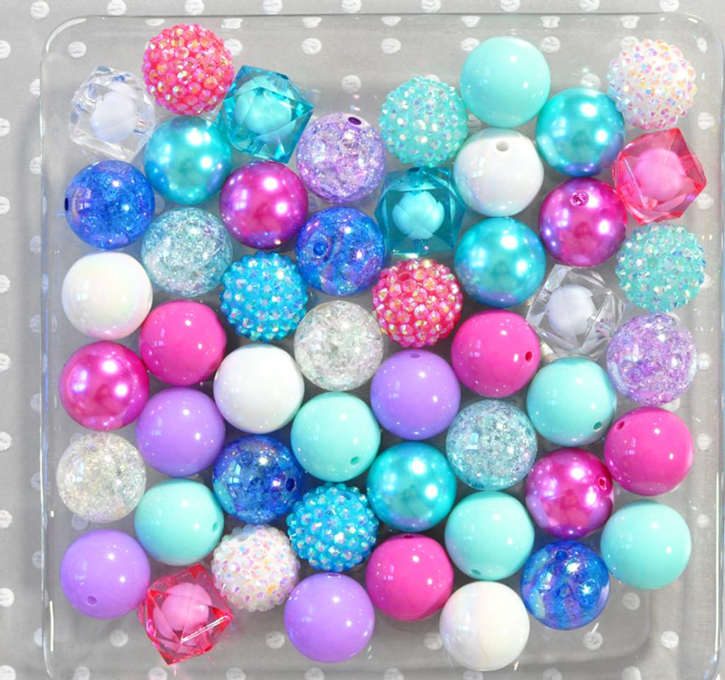 Froze icy aqua, pink, purple bubblegum bead wholesale kit