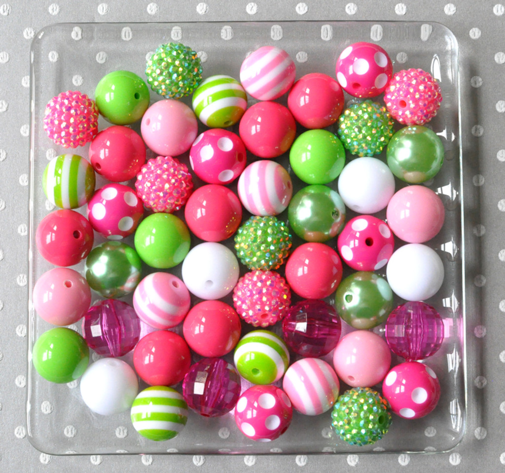 Hot pink and lime green chunky bead wholesale kit