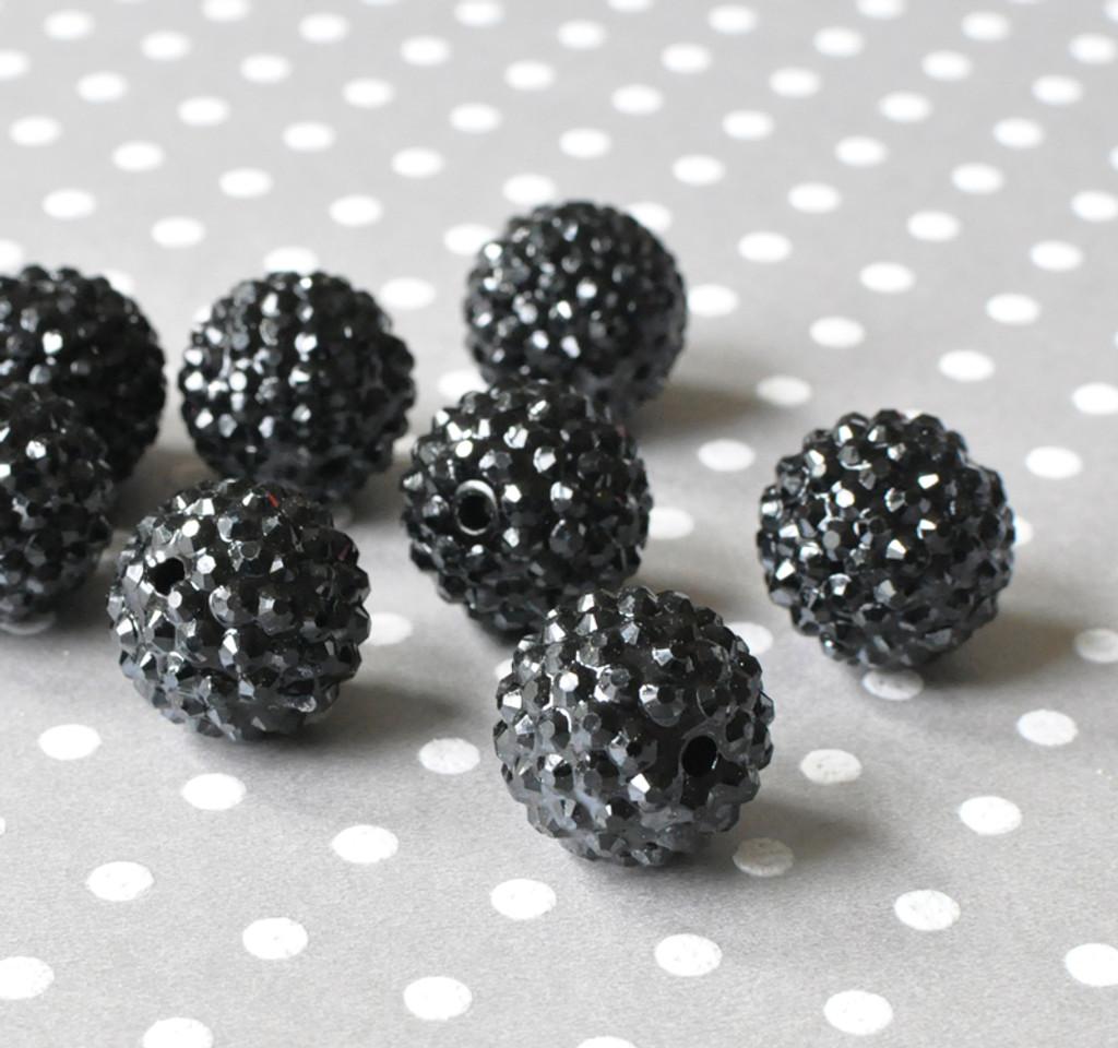 20mm Black rhinestone bubblegum beads wholesale