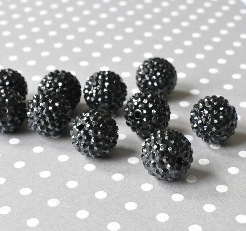 20mm Black rhinestone chunky resin beads