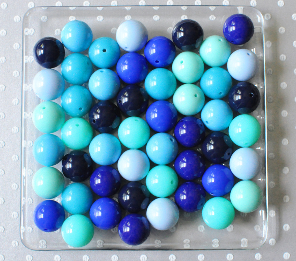 Shades of blue solids bubblegum bead variety mix